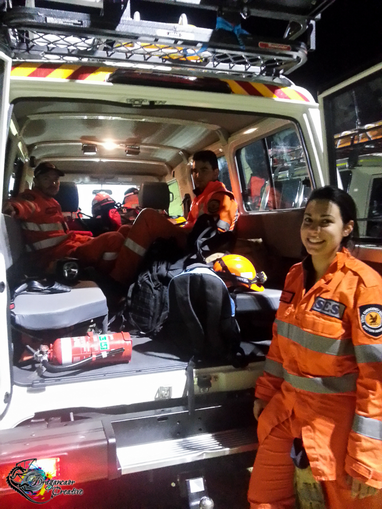 Stirling Team 3 & our Troopy as we packed up & stood down for the night. (I'm not in the photo as I took it on my phone)